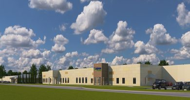 Aerial view rendering of Aphena Pharma Solutions Cookeville, TN, Solid Dose Packaging and Distribution Facility